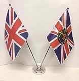 United Kingdom und Royal Wappen Flaggen chrom und Satin Tisch Schreibtisch Flagge Set