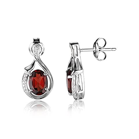 JewelryPalace Oval 3.3ct Rot Genuine Granat baumeln Ohrringe 925 Sterling Silber