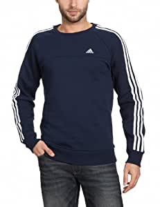 adidas Men's Essentials 3-Stripes Crew Sweat Shirt - Collegiate Navy, Small