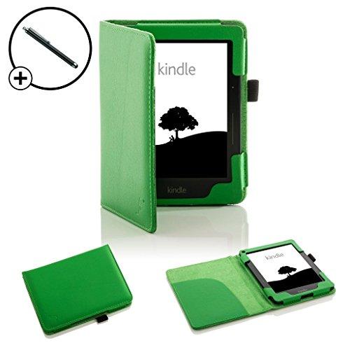 on Kindle Voyage Smart Hülle Schutzhülle Tasche Bumper Folio Smart Case Cover Stand - Extra Robust mit Rundum-Geräteschutz und intelligente Auto Schlaf / Wach Funktion inkl. Eingabestift (GRÜN) ()