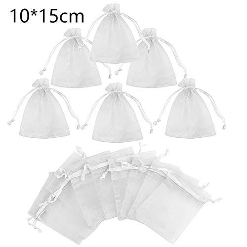Gudotra 100pz-10 * 15cm sacchetti organza bianco bustine per confetti regalo caramelle matrimonio compleanno comunione natale