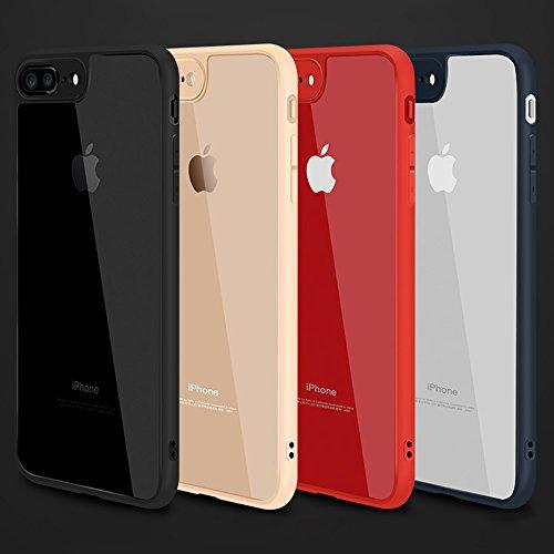 iPhone 7 Plus Hülle, [weltweit dünnste Bumper Case] Phone Cover schwarz Designer Slim TPU Silikon mit Transparent Harte Rückseite [gratis Displayschutzfolie] - Hülle iPhone 7 Plus 5.5inch (Gold) Rot