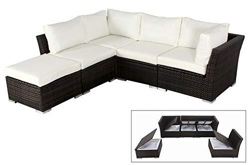 OUTFLEXX Stilvolle Lounge Sitzgruppe Sofa Set aus hochwertigem Poly-Rattan, braun marmoriert, mit...
