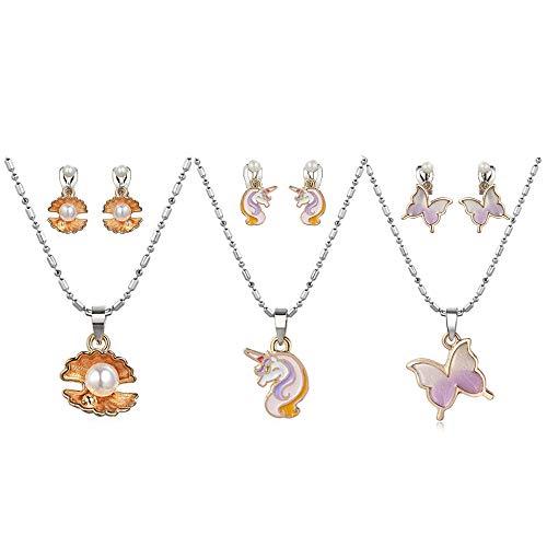 Powerking Collar de niños con Clip en aretes, 3 Juego de Joyas para niñas y niños Juegos de Princesa Princesa Juego de aretes y Juego de,Unicornio