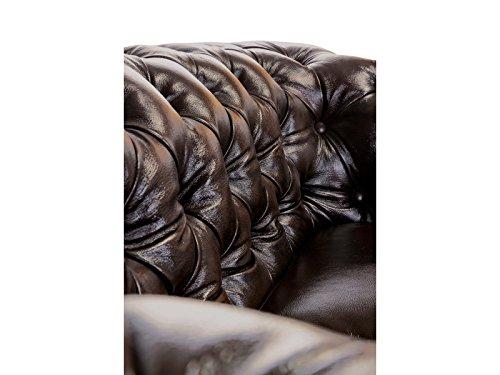 Woodkings® Chesterfield Sofa 3-Sitzer braun Vintage Echtleder Couch Bürosofa Polstermöbel 3 Sitzer antik Designsofa Federkern unikat Herrenzimmer englisches Leder Stilsofa