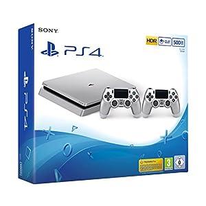 PlayStation 4 – Konsole (500GB, silber, slim) inkl. 2. DualShock Controller