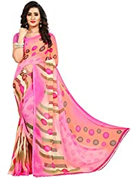 Anand Sarees Faux Georgette Printed Pink Color With Blouse Piece ( 1438)