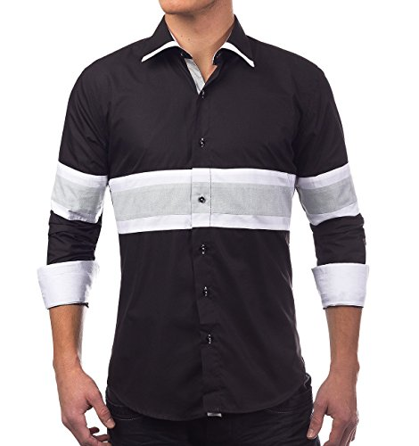 Herren Hemd · Slim Fit · Langarm Hemd · Sportliches gestreiftes Design · Kontrast Details · Shirt mit Stehkragen für Freizeit · Business · Casual · in Schwarz und Weiß · H1390 in Markenqualität Schwarz