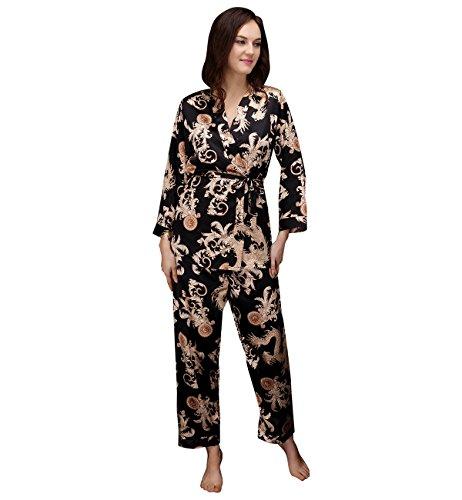 Surenow 3PZ Vestaglia da Notte Donna Camicia Pigiama Imbracatura Pantaloni Drago Stampa Accappatoio Pigiama Completa per Donna