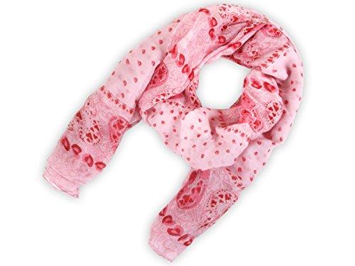 Sciarpa circolare, foulard da donna leggero e morbido estate primavera autunno inverno anello ragazze colorati stola accessorio moderno lifestyle , SCH-667.671:SCH-671b cuori rosa - Monogram Cuore