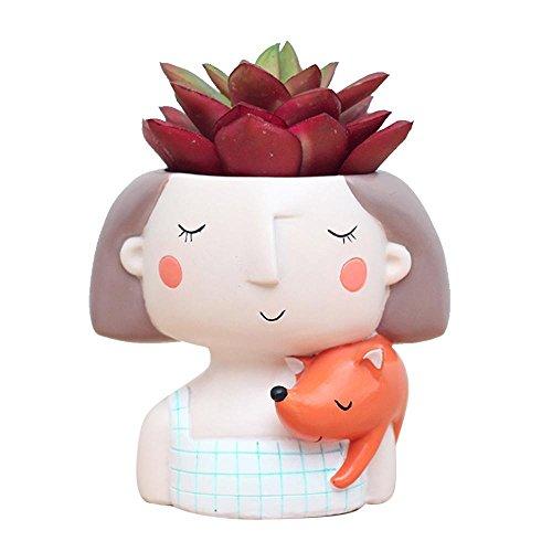 Aolvo Einzigartige Sukkulente Übertopf Topf, Süße Mädchen Cartoon Plant Flower Pot Schreibtisch Crafts Mini-Ornament HOME Dekoration, verspielt Mädchen, Fox Girl, Einheitsgröße