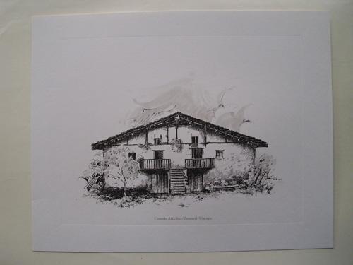 Litografía - Lithography : CASERÍO ATIKIBAR - ZEANURI - VIZCAYA