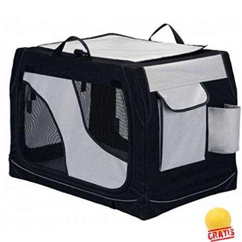 TRIXIE Mobile Kennel Vario/Double besonders stabil durch Metallrahmen Polyester +BALL Gratis (61 × 43 × 46 cm)