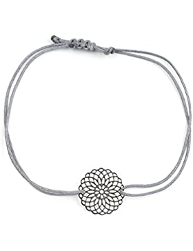 Filigranes Armband Silber - Graues Textil Armband mit silberfarbenem Mandala - Blume - HANDMADE