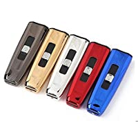 BestPriceEver USB Electronic Rechargeable Cigarette Lighter Slim Luxury Glossy Lighter (Inbuilt USB) wind proof New Design Without Box (Random Colour)