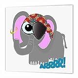 3dRose Cute Goofkins éléphant Pirate Cartoon-Quilt carré, Multicolore, X 15,2cm