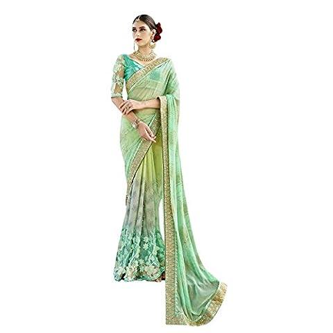 Aagaman Fashions unglaubliche grüne farbige Grenze gearbeitete Crape Net Hochzeit Saree (Bead Trim Top)