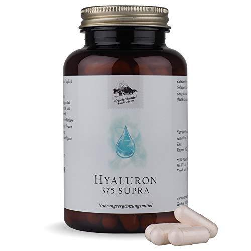 Hyaluron 375 Supra - Hyaluronsäure für Haut, Haare & Nägel - 120 Stück - Wertvolles Hyaluronat mit Zink & Vitamin C & B12 - Deutsche Premium Qualität - Kräuterhandel Sankt Anton