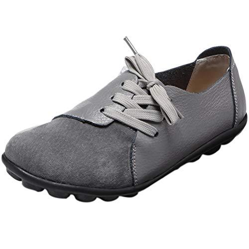 Mallimoda Damen Mokassin Casual Loafers Komfort Leder Flache Schnürschuhe Grau 39