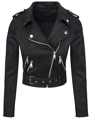 Designer Damen Übergangs Jacke Wildlederoptik Sommer Jacke kurz Jacke D-315 [ V3447 Schwarz L ] Kurze Jacke