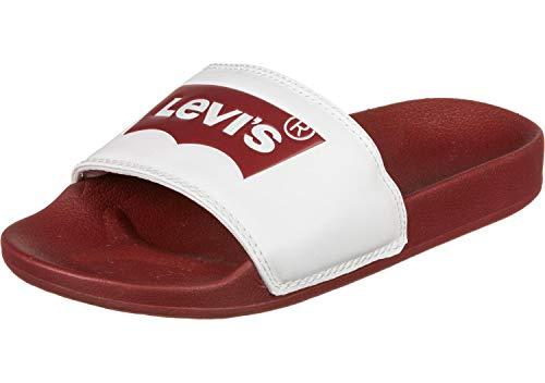 Levi's Levis Badelatschen June Batwing 228998-794-87 Rot Weiß, Schuhgröße:43