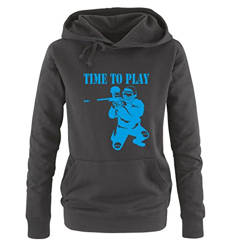 Paintball Ritter (TIME TO PLAY - PAINTBALL - Damen Hoodie Schwarz / Blau Gr. M)