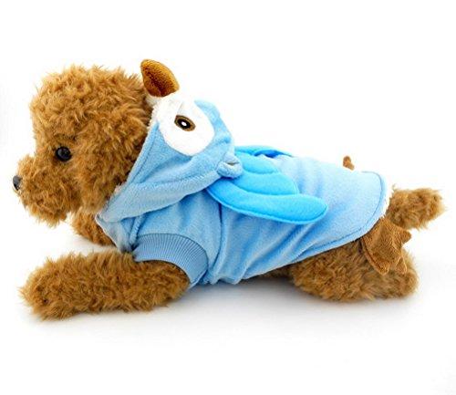 zunea Welpen Pet Cat kleine Hunde unter 9kg Hund Schlafanzüge Fleece Eule Kostüm Kleid mit Kapuze