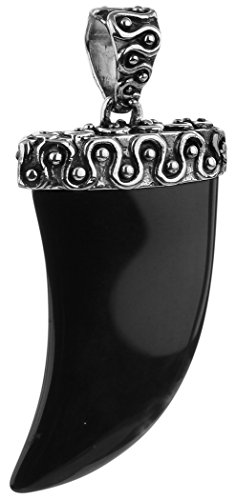 Schwarz silberner Tiger Krallen Anhänger für Ketten von Kuzzoi aus massivem 925er Sterling Silber und Onyx-Kristall für Halsketten, sehr hochwertig und exklusiv 262469-005