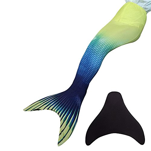 Likeep™ Meerjungfrauenschwanz zum Schwimmen mit Meerjungfrau Flosse mit Kostenloser Classic Silicone Badekappe + Ohrenstöpsel + Nasenklammer (Dunkelblau+Gelb, 12)