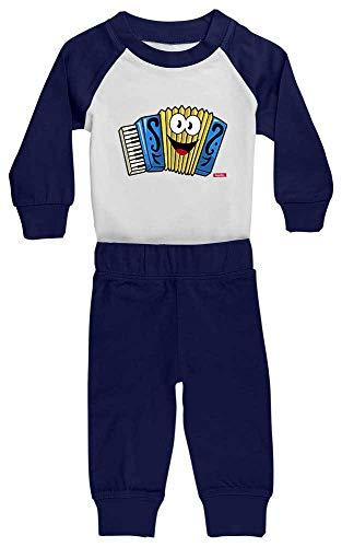 HARIZ Baby Pyjama Akkordeon Lachend Instrument Kind Lustig Plus Geschenkkarten Weiß/Navy Blau 24-36 Monate -