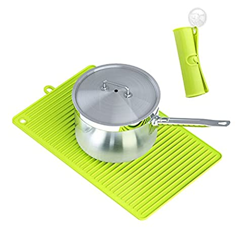 Dish Drying Mat, Ulinek Multi-purpose Large Silicone Rectangle Baking Mat Heat Resistant Trivet Mat Pot holder Placemat Pad Dish Drainer Draining Board Baking Gadget Kitchen Table Mat Coasters for Tableware Hot Dishes Counter-Foldable for Storage