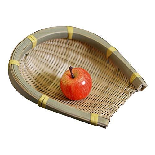 Ibaste-es vassoio di pane cestino realizzata a mano di bambù di archiviazione di acquisti dim sum cestino di frutta di sushi piatto di placca 15x16cm