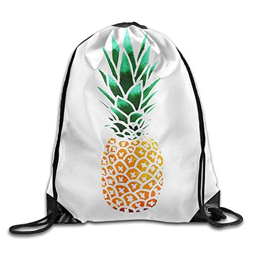 Naiyin Summer Street Printed Cute Pineapple Unisex Drawstring Backpack Travel Sports Bag Drawstring Beam Port Backpack. - Universal Mobile Pouch