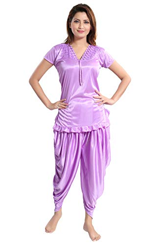 Romaisa Women's Satin Top with Patiala (PT149-408, Orchid, Free Size)