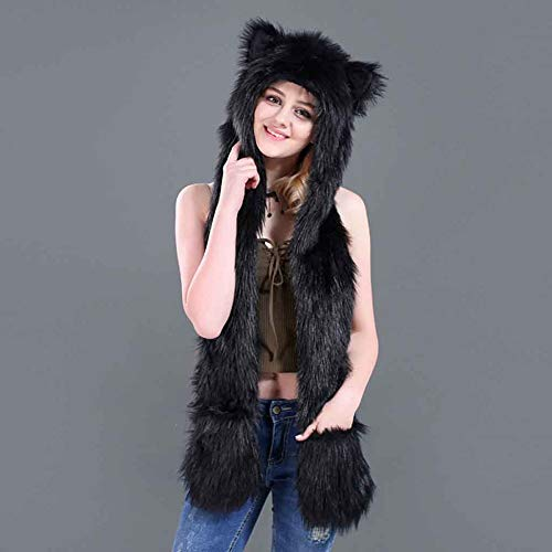3 In 1 LED Hat Faux Fur Light Up Animal Hats with Hood Gloves Pocket Snood Scarf for Women, Men, Girls, ()