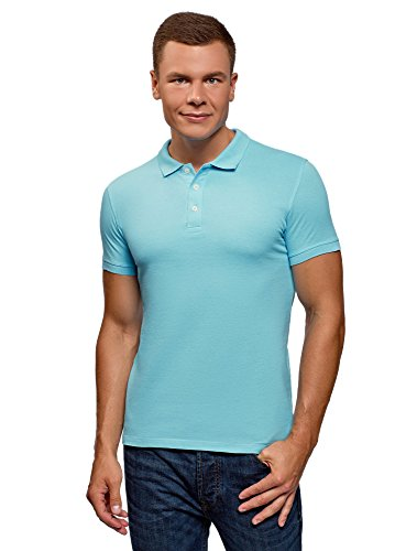 oodji Ultra Herren Pique-Poloshirt, Türkis, DE 50 / M