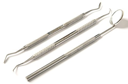 CCANDURE® Zahn Spiegel & Skalierer Set - 3 Stücke Dental Set, Rostfreier Edelstahl, Doppelseitig , Dental Werkzeug,Dentale Sonde,