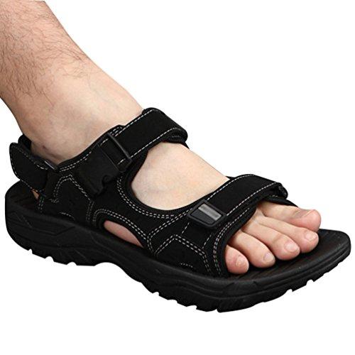 Yiiquan sandali sportivi estivi scarpe da spiaggia per uomo casual sandalo da acqua traspirante coreano (nero, asia 39)