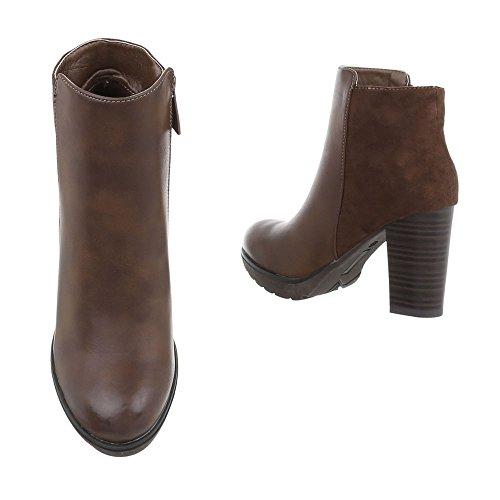 Ital-Design High Heel Stiefeletten Damenschuhe Schlupfstiefel Pump Moderne Reißverschluss Stiefeletten Braun