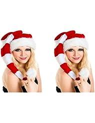 2 er Set Lange Weihnachtsmütze Nikolausmütze Weiß Rot Gestreift Plüsch Rand Nikolaus Mütze X24