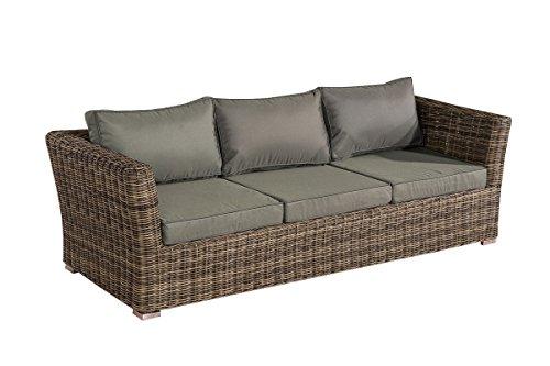 Mendler 3er Sofa 3-Sitzer Sousse Poly-Rattan ~ Grau-Meliert mit Kissen in eisengrau (3-sitzer-sofa-kissen)