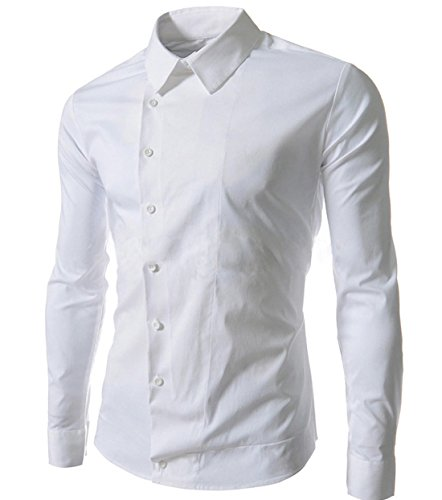 Jeansian Hommes Chemise Casual Slim Fit Trend Fashion Mens Shirt 8552 white