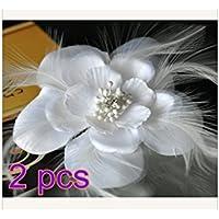 H-vuality-C 2pcs elegante Blume Feder Haarspange Mädchen Party Haar Accessoire preisvergleich bei billige-tabletten.eu