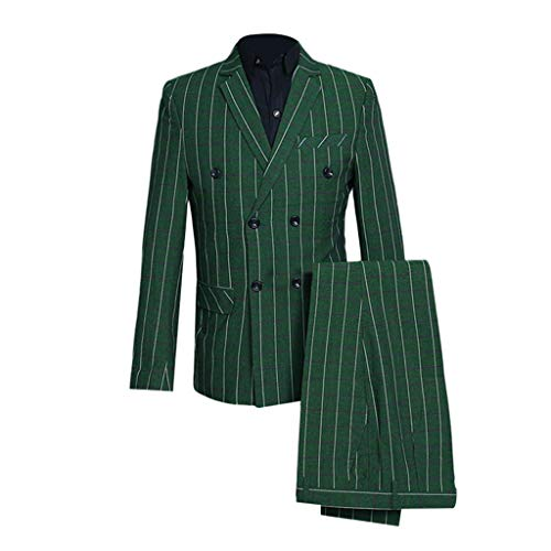 Beaulies Men''s Plaid Double Breasted Suit Set, Men''s Slim 3-Piece Suit Plaid Blazer Host Show Jacket Coat & Pant & Waistcoat (Green) (Green Suit Herren Jacket)
