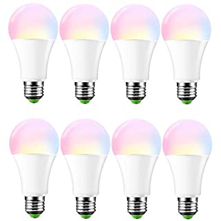 10W E27 RGBW LED Bulb, ABEDOE RGB LED Light Bulb,16 Color Changeable Dimmable Atmosphere Lighting, AC 85-265V, Warm White, Pack of 8X