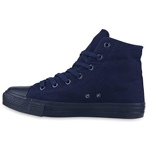 Herren Schuhe Sneakers | Sneaker High Denim | Turnschuhe Camouflage | Stoffschuhe Schnürer Dunkelblau All