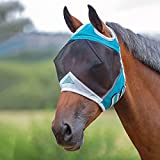 Shires Fine Mesh Fly Mask With Ear Holes - Teal: Cob