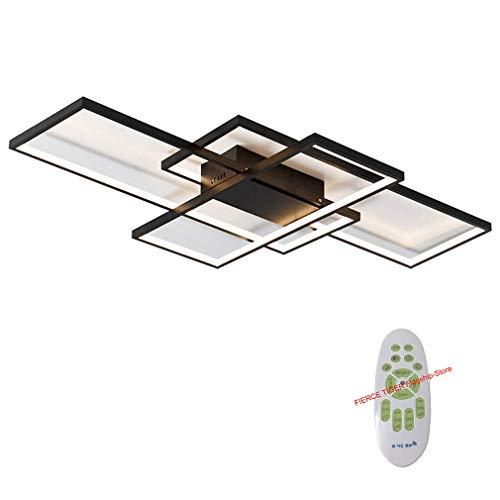 Metall-decken-beleuchtung (LED Deckenleuchte Wohnzimmer lampen Dimmbar Deckenlampe Hängeleuchte Modern Platz Chic Decke Leuchen Metall Acryl mit Fernbedienung Innen Schlafzimmer Esszimmer Esstisch Deckenbeleuchtung (Schwarz))