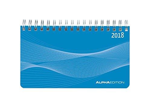 Querkalender Mini PP-Einband blau 2018 - Tischkalender/Bürokalender (9 x 15,6) - 1 Woche 2 Seiten