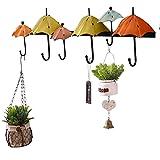 TINGTING Kleiderhaken Wandhaken Türhängeleiste Wandgarderobe 6 Haken Regenschirm Form Eisen Kunst Retro Dekoration Haken 65 * 19cm Eisen (2 Farben Optional) ( Farbe : 1green )